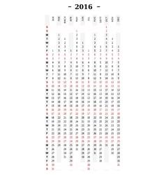 Calendar 2016 vertical row vector