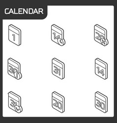 calendar outline isometric icons vector image