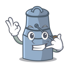 call me milk can mascot cartoon vector image