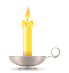 candle with candlestick old retro vintage icon vector image vector image