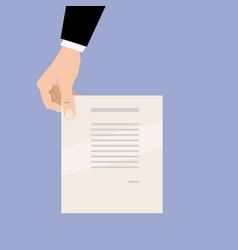 cartoon businessman hand holding empty blank paper vector image