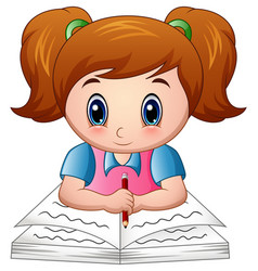 Cartoon girl reading a book vector
