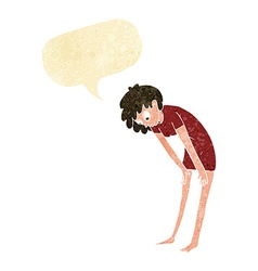 Cartoon woman looking at her feet with speech vector