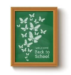 chalkboard butterfly green vector image