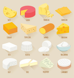 cheese varieties flat design icon set vector image