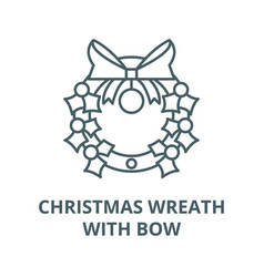 christmas wreath with bow line icon vector image