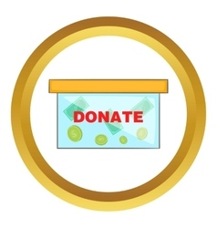 Coins in donate box icon vector image