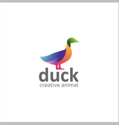 Colorful duck logo design creative sign vector
