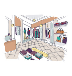 Colorful sketch of fashion showroom or shop vector