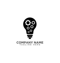 Creative light bulb and gear logo design template vector