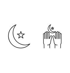 crescent pray ramadan kareem linear icons on vector image