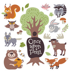 Cute cartoon and wild woodland animals and forest vector