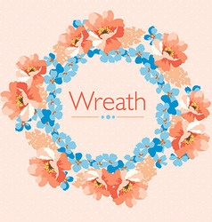 Cute floral wreath in pastel colors floral vector