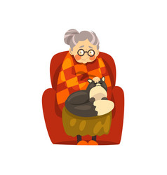 cute granny sitting in armchair with her black cat vector image