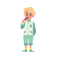 cute little kid caucasian blond boy stands and vector image