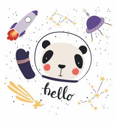 Cute panda in space vector