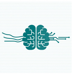 cyber mind human brain with circuit board and vector image
