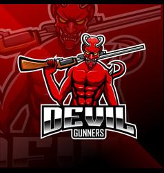 devil gunners esport mascot logo vector image
