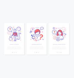 Diversity concept line design style web banners vector