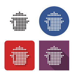 dotted icon stew pan in four variants vector image