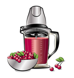 drawing color kitchen blender with cherry juice vector image