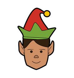 Elf or santas helper christmas character icon vector