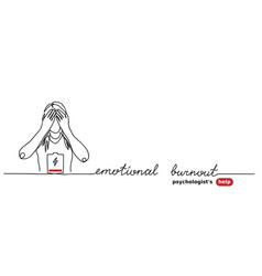 emotional burnout stress low battery simple vector image