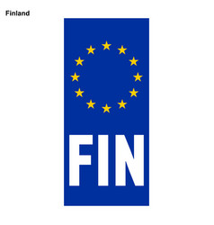 Eu country identifier blue band on license plates vector