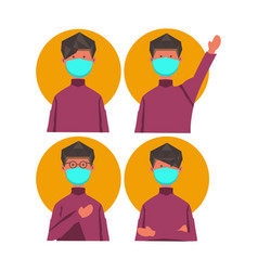 Expression character man with prevention medical vector