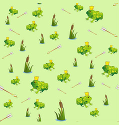 Fabulous seamless pattern with frog princess vector