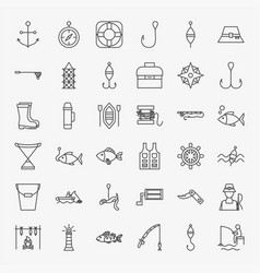 Fishing line icons set vector