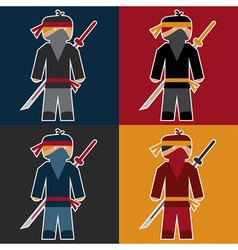 Flat sticker of ninja vector