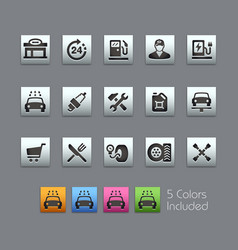 gas station icons - satinbox series vector image