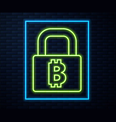 Glowing neon line lock with bitcoin icon isolated vector