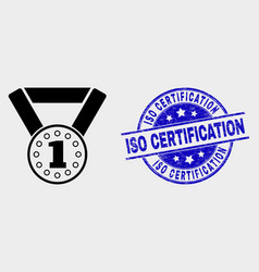 Gold medal icon and distress iso vector