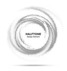Halftone dots circle frame logo emblem design vector