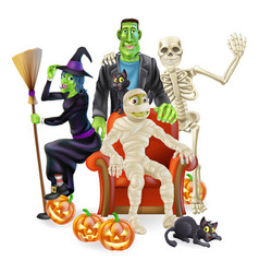 Halloween party group vector