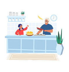 Happy grandfather cooking pancakes vector