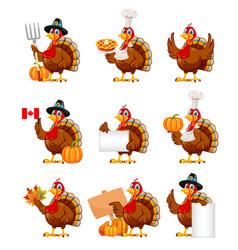 Happy thanksgiving cartoon character turkey bird vector
