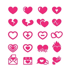 hearts icons set vector image