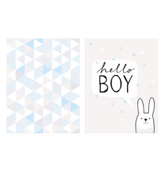 hello boy hand drawn card and pattern vector image