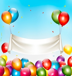 Holiday birthday banner with colorful balloons and vector image