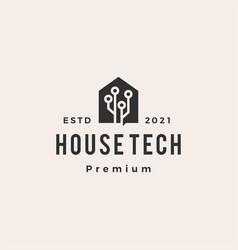 House tech home circuit hipster vintage logo icon vector