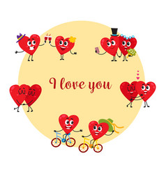 i love you greeting card with couples of heart vector image