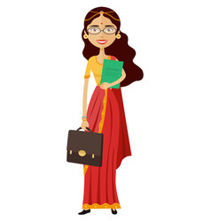 Indian banker or worker lady with glasses vector