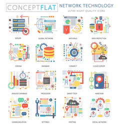 Infographics mini concept network technology icons vector