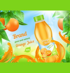 juice advertizing poster realistic vector image