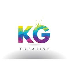 kg k g colorful letter origami triangles design vector image