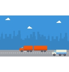 Landscape of container and delivery truck vector