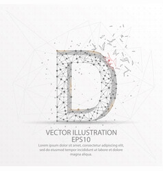 letter d form low poly wire frame on white vector image